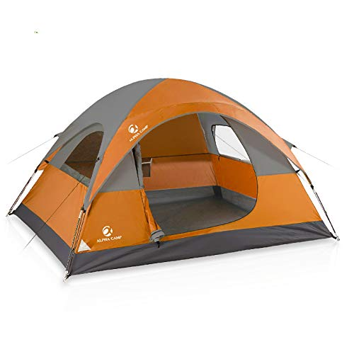 ALPHA CAMP 3 Person Camping Dome Tent with Carry Bag, Lightweight Waterproof Portable Backpacking Tent for Outdoor Camping/Hiking - 7' x 8' Orange