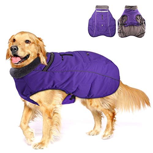 Winter Coats for Dogs with Bag,Thickened Reflective Windproof Waterproof Design Dog Cold Life Jacket Fleece Vest Apparel for Small Medium Large Pet…