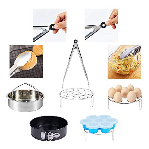 LinkingHome Pressure Cooker Accessories Set Compatible with Instant Pot 5 6 8 Qt, Steamer Basket, Springform Pan, Stackable Egg Steamer Rack, Egg Bites Mold, Egg Beater, Kitchen clip, Silicone Mitts