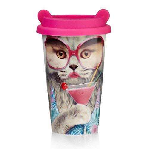 MUSTARD - Coffee Cat Cup I Kaffee-to-Go Becher mit Silikon-Deckel I Keramik I isolierter Kaffeebecher für unterwegs I Hitzebeständig I doppelte Thermo-Beschichtung I Geschenkidee für Studenten - Katze
