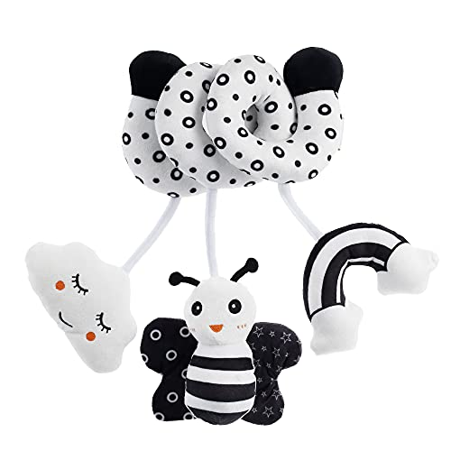 Cute Baby Spiral Activity Hanging Toys with Ringing Bell, Safe Soft Plush Educational Toy Stimulate Child's Senses for Baby Bed Pram and Car Seat (Bee)