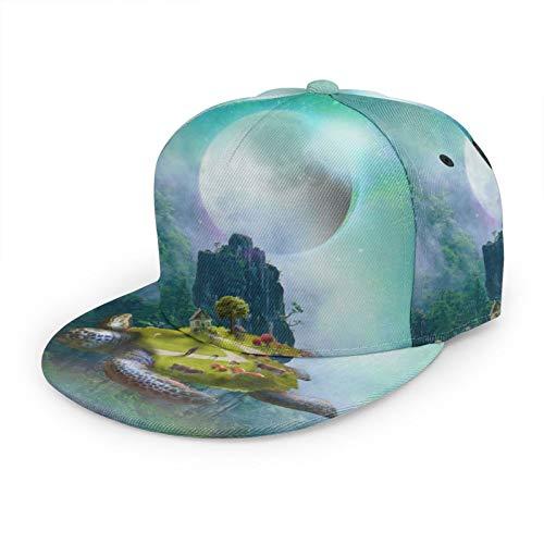 GCDT Fantasyart Turtle Island Flying 3D Flat Bill Baseball Cap Flat Brim Adjustable Snapback Caps Classic Sport Hip-Hop Hat for Men Women Black