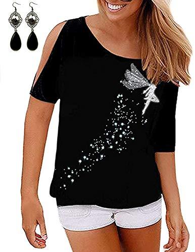 BUOYDM Damen T-Shirt mit Elfe Drucken Schulterfrei Kurzarm Shirt Oberteil Tops, Schwarz, XL