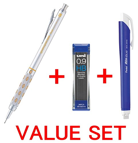 Pentel Graph Gear 1000 Automatic Drafting Pencil, 0.9mm Lead Size, Brushed Metal Barrel/PG 1019/ + Pentel Ain Clic Retractable Pen-type Triangle Eraser + Strength & Deep & Smooth Uni 0.9mm HB Top quality Diamond Infused Leads [Nano Dia-36 Leads] for Professional Value Set