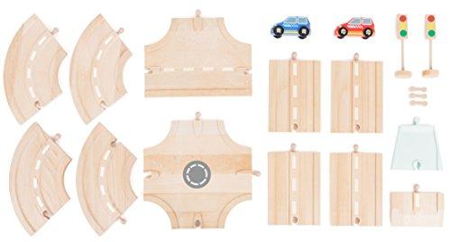 small foot 10801 World straatset van natuurlijk hout, spoortoebehoren, incl. kruising, bochten en rechte en stopcontacten en twee personenauto's, compatibel met alle gangbare houten treinen