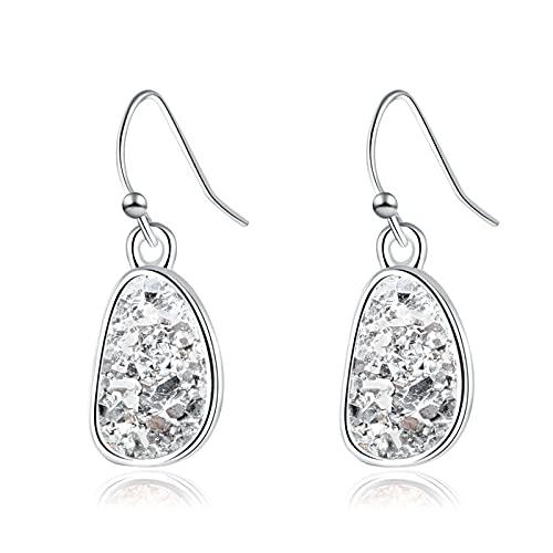 LIEQUAN Amor Accesorios Femeninos Pendientes de racimo de Cristal joyería Moda Pendientes de Piedra Natural de imitación de Plata(Plata + Blanco)
