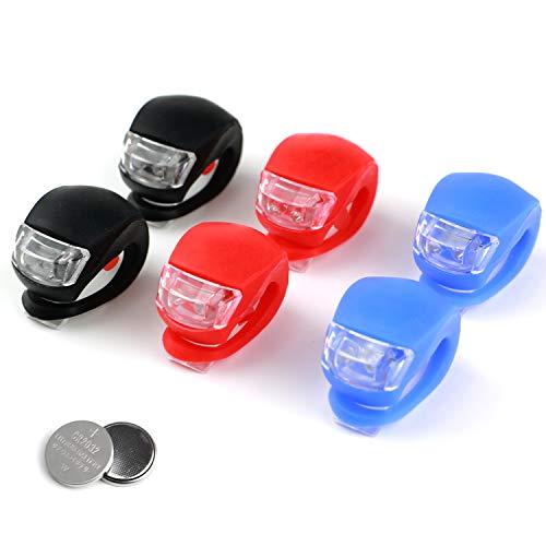 LED Fahrradlicht Set 6pcs, LED Fahrradbeleuchtung, Silikon LED Fahrrad Warnlicht, Fahrrad Scheinwerfer Rücklicht, Wasserdichte helle Fahrradleuchten, für den Außenbereich, Laufne, Fahrradsicherheit