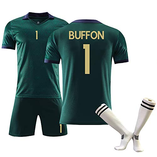 Camiseta de fútbol para niños, Buffon1 Maldwi3 Bonucci19 Copa de Europa Italia Segunda Camiseta de fútbol de Manga Corta Trajes Verano, Limpieza repetible, la Mejor opción para los fanáticos- cya