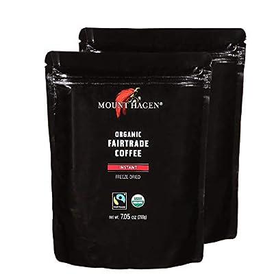 Mount Hagen 7.05 oz Organic Fair Trade Freeze Dried Caffeinated 2 Pack Instant Coffee Resealable Doypack Bag Kosher Single-origin 100% Arabica Freeze Dried Coffee Packets, Instant Coffee For Camping