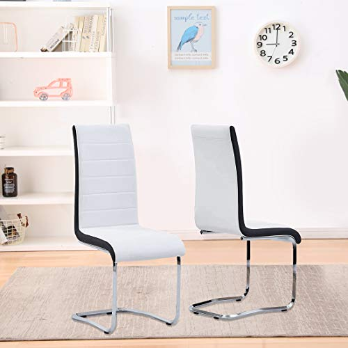 White Dining Chairs Set of 2, Faux Leather Modern Indoor Kitchen Chairs, Sturdy Chrome Chair Legs and Ergonomic Design Dining Room Chairs with High Back Soft Padded for Dining Room Kitchen Apartment
