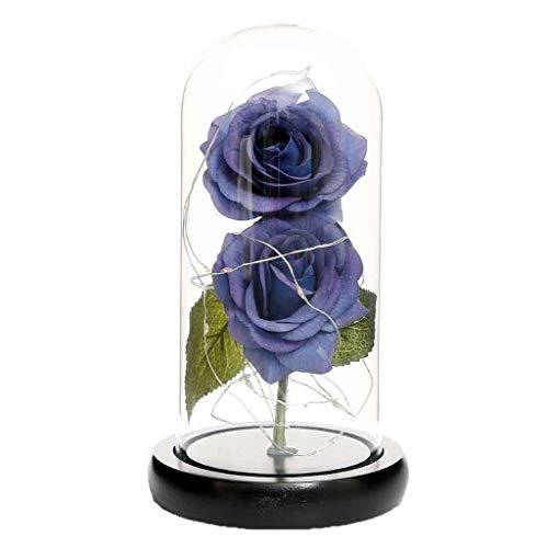 Andouy Rose Geschenk Kit, Eleganten Glaskuppel mit LED-Licht Pine Base, Wohnkultur für Geburtstag Valentinstag Muttertag Jahrestag(11x21.5cm.Blau-2)