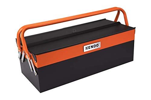 KENDO Werkzeugkasten leer - Maße: L46 x B20 x H16 cm - Werkzeugkiste Metall - Freitragende Werkzeugkiste leer aus pulverbeschichtetem Stahlblech - 3 Fächer und 2 Handgriffe