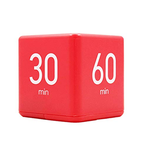 JUCAI Cube Timer, Hora Alarma Cubo Digital 5 20 30 60 Minutos Temporizador De Reloj con Chip De Sensor De Giroscopio para El Hogar Cocina Cocina Yoga Siesta Recordatorio,Red