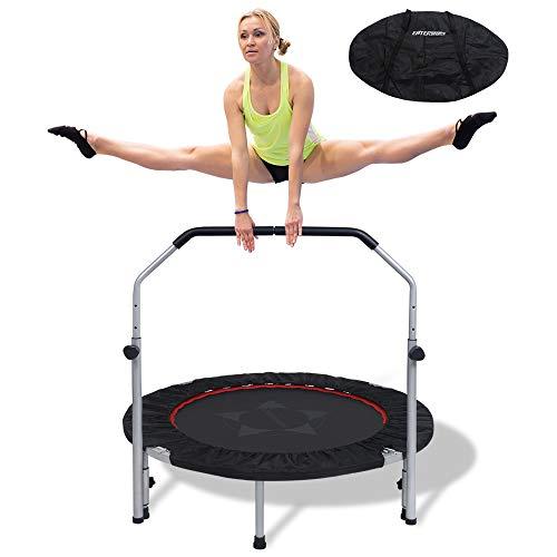 "EnterSports 40"" Foldable Fitness Trampoline Rebounder with Adjustable Foam Handle Mini Exercise Trampoline for Men Women Kids Indoor/Yard/Garden Workout Home Gym Exercise Cardio Trainer"