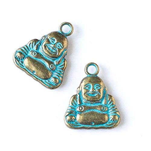 Cherry Blossom Beads Green Bronze Colored Pewter 21x25mm Happy Buddha Charm - 6 per bag