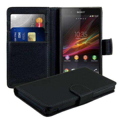 kwmobile Wallet Case Hülle kompatibel mit Sony Xperia Z - Cover Flip Tasche mit Kartenfach in Schwarz