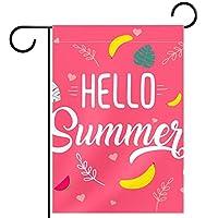 ガーデンフラッグ両面印刷防水フルーツとフラミンゴ 庭、庭の屋外装飾用
