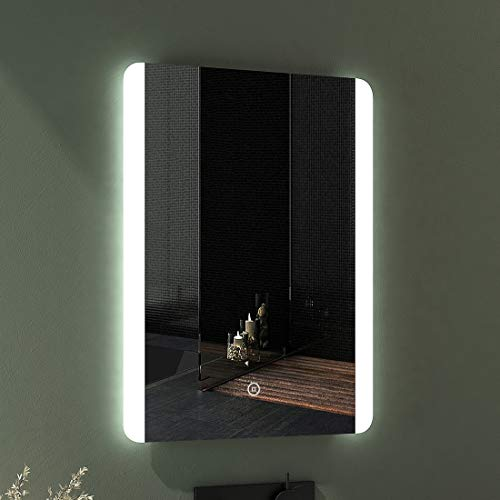 EMKE LED Badspiegel 50x70cm Badspiegel Beleuchtung kaltweiß Lichtspiegel Badezimmerspiegel Wandspiegel mit Touchschalter beschlagfrei IP44 energiesparend