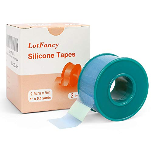 """2Rolls 1""""×5.5 Yds LotFancy Medical Silicone Tape"""