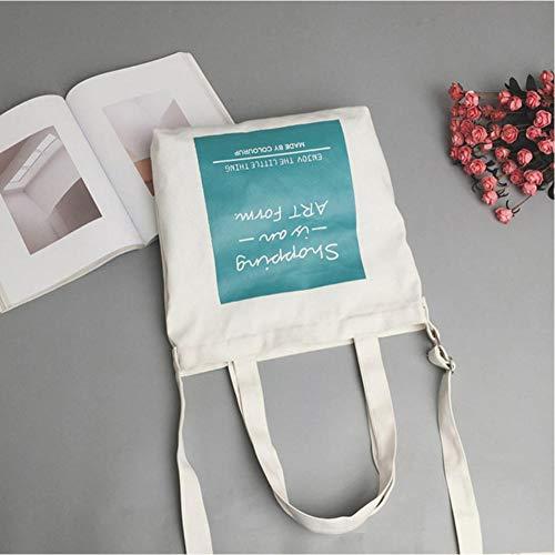 GUTONGHAO Letter Pattern Single Shoulder Shopping Mode Eco Bag Mädchen Casual Canvas Büchertasche Frauen Korean Style Crossbody Totes Pink-B