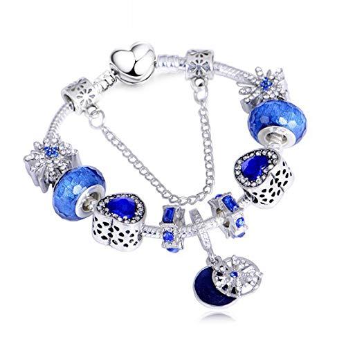 Pulsera Encanto de Aleación para Mujer, Diamantes de Imitación con Incrustaciones Creativas y Brazalete de Muñeca con Gemas Azules Artificiales, Joyería de Cadena con Colgante de Resina de Moda