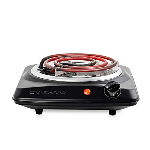Ovente 1000W Single Hot Plate Electric Countertop Coil Stove 6 Inch with 5 Level Temperature Control & Stainless Steel Base, Easy Clean Portable Cooktop Burner for Cooking & Camping, Black BGC101B