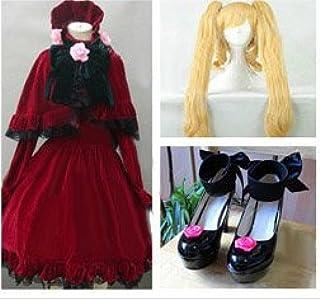 HALLE SHOP-ローゼンメイデン Rozen Maiden 真紅 コスプレ衣装+ウィッグ+靴 コスチューム ハロウィン、クリスマス、イベント、お祭り仮装など (女性L靴サイズ(ご注文してから教えてください。))