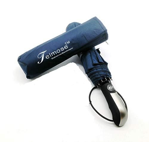 Paraguas Teimose a Prueba de Viento 10 Costillas Paraguas Plegables compactos automáticos con Revestimiento de teflón y Mango Antideslizante para Hombres y Mujeres (Azul)