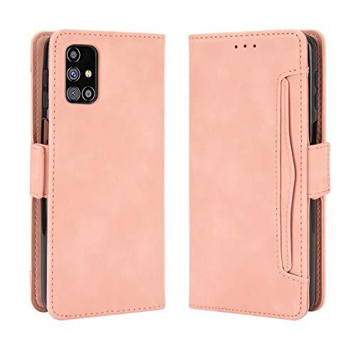 BaiFu Lederhülle für Samsung Galaxy M31s Hülle, Flip Hülle Schutzhülle Handy mit Kartenfach Stand & Magnet Funktion als Brieftasche, Tasche Cover Etui Handyhülle für Samsung Galaxy M31s, Rosa
