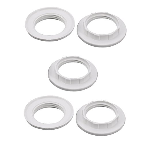 sourcingmap 5pcs Screw Bulbs Lamp Holder Twist and Lock E14 Socket Replacement Ring White
