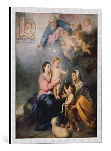 Kunst für Alle Cuadro con Marco: Bartholomé Estéban Murillo The Holy Family or The Virgin of Seville - Impresión artística Decorativa con Marco, 40x50 cm, Plata cepillada