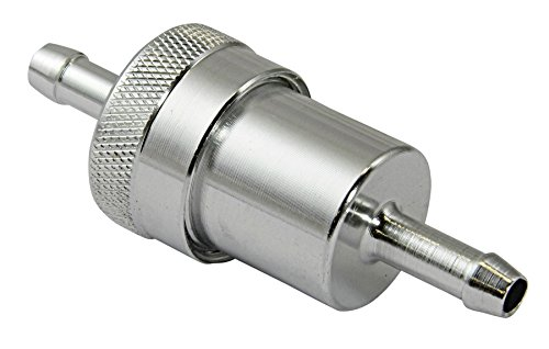 Bike It Biketek - Motorrad Benzinfilter - Eloxiertes Aluminium - 6 mm - Chrom