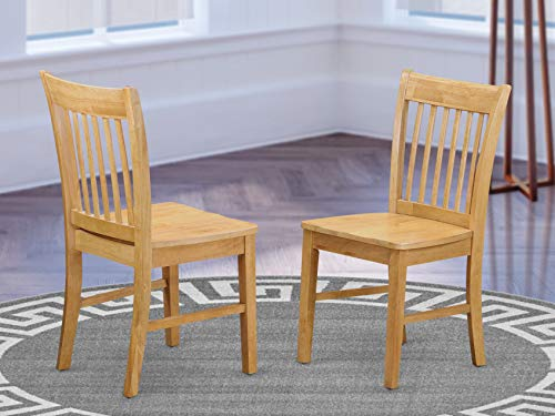East West Furniture NFC-OAK-W Norfolk mid-century dining chairs - Wooden Seat and OAK Solid wood Frame modern dining chair set of 2