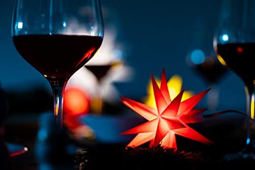 Weihnachtsstern 3D LED Rot 18 Zack 12 cm Batterie Kunststoffstern Dekostern Fensterdeko Weihnachtsdeko Innen Stern beleuchtet