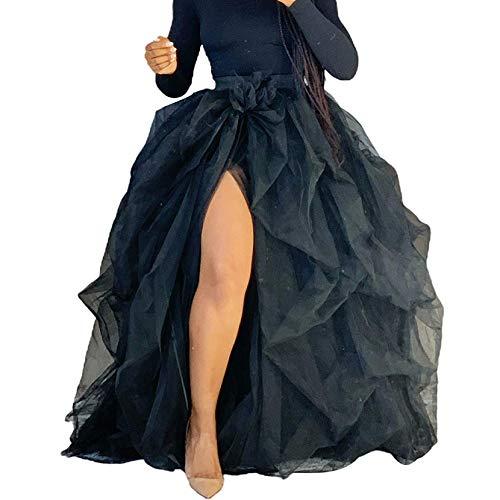 Falda de encaje de cintura alta con volantes de tul dividida en capas Maxi princesa fiesta fiesta noche