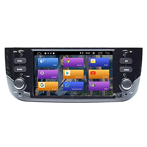 BOOYES per Fiat Linea Punto 2012-2015 Android 10.0 Double DIN 6.2'Car Multimedia Navigazione GPS Auto Radio Stereo Auto Auto Play/TPMS/OBD / 4G WiFi/Dab/SWC