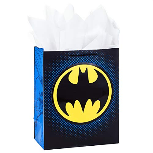 Hallmark 13' Large Batman Gift Bag with Tissue Paper for Christmas, Halloween, Birthdays, Fathers Day, Superhero Parties and More