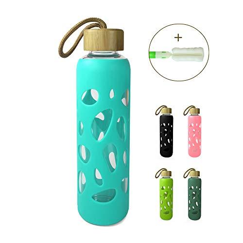 Wenburg Trinkflasche/Glasflasche mit Bambus Deckel 550 ml, Silikonhülle. Sportflasche/Wasserflasche aus Glas. Für Unterwegs (Türkis, 0,55 l)