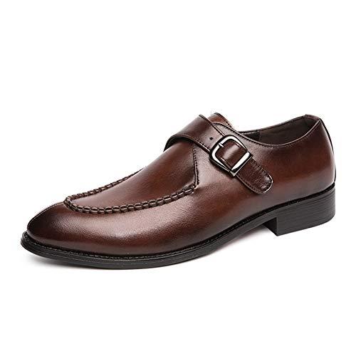 WENQU Fashion Business Oxford voor mannen monnik riem Loafer schoenen Slip op met metalen gesp PU Upper Vegan puntige teen ervaren gestikte Britse stijl