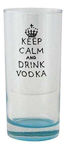 """Memories-Like-These UK - Vaso de tubo de cristal, pintado a mano, con texto en inglés """"Keep Calm and Drink Vodka"""""""