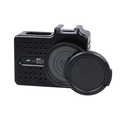 SNUIX Carcasa Protectora de Carcasa de aleación de Aluminio CNC con Filtro UV y Tapa Protectora de Lente for cámara de acción Deportiva Xiaomi Xiaoyi Yi II 4K (Negra). (Color : Negro)