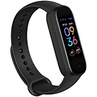 Amazfit Band 5 Fitness Tracker, 15-Day Battery Life, Blood Oxygen, Heart Rate, Sleep Monitoring, Women's Health Tracking, Always-On Display, Music Control, Water Resistant (Black)