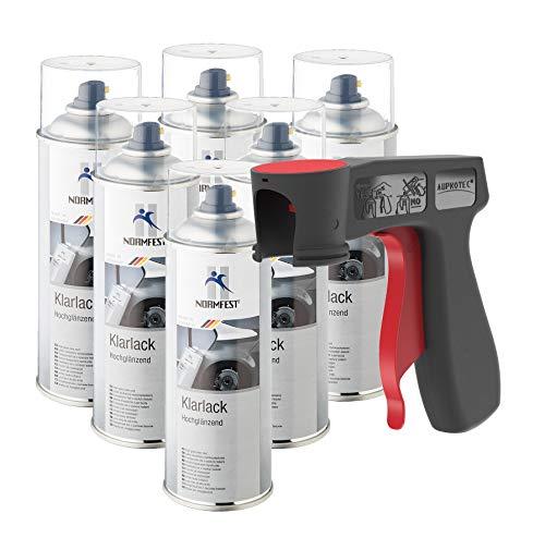 AUPROTEC Vernis Clair Haute Brillance Combinaison penture Transparente scellement Spray 6X 400 ML + 1x poignée Originale pour Bombes aérosols