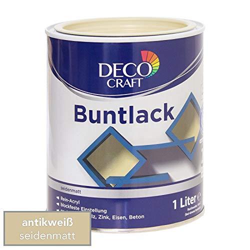 Deco Craft Buntlack Antik weiß seidenmatt 1 Liter Rein-Acryl Lack + Grundierung Schnelltrocknend