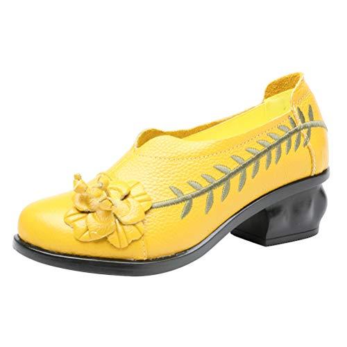 Mallimoda Damen Leder Slipper Mokassins Klassische Pumps Weinlese Handgefertigte Große Blume Loafers Schuhe mit Absatz Gelb EU 38=Asian 39