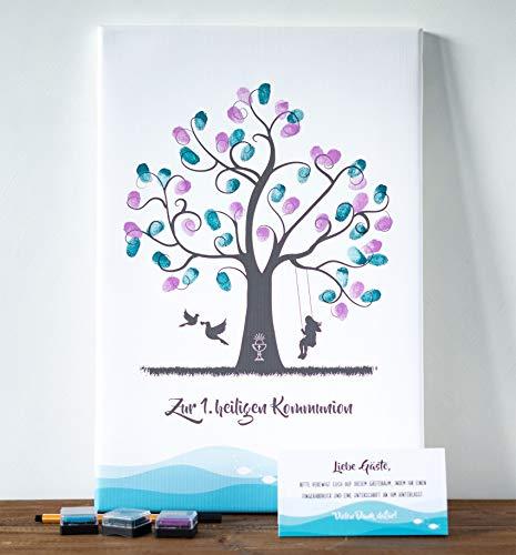 wedding-tree Fingerabdruck Leinwand Gästebaum Gästebuch Taufe Kommunion (30 x 45 cm, Kommunion Mädchen)