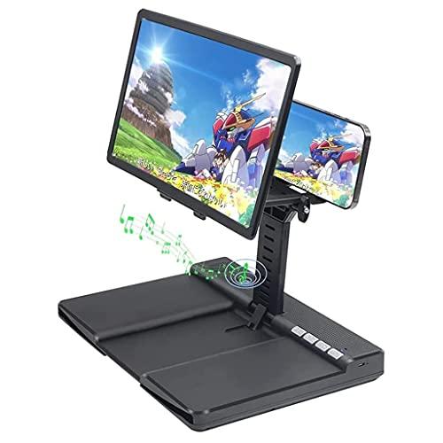 Soporte para teléfono celular con altavoz Bluetooth, lupa de pantalla de teléfono de 12 ', lupa de pantalla de teléfono inteligente de escritorio vertical ajustable en altura de ángulo, amplificador