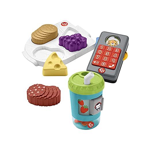 Fisher-Price Imaginación Kit de juego con vaso de smoothies, teléfono con luces y sonidos y puzzle de alimentos, juguete para bebés +1 año (Mattel HFJ95)