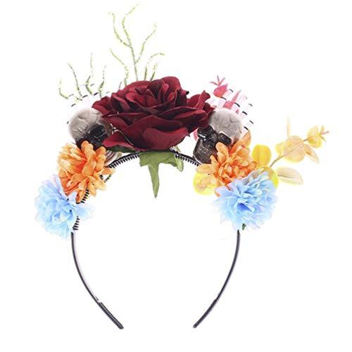 FRCOLOR Diadema de Flores de Halloween Día de Los Muertos Mexicano Rosa Flor Calavera Corona Pelo Aro Tocado Fiesta Disfraz para Mujeres Niñas