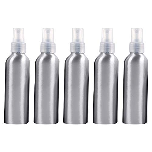 PAN-FR Bouteilles cosmétiques, 5 Bouteilles en Verre réutilisables de pulvérisateur de Brume Fine de PCS Bouteille en Aluminium, 150ml Bouteilles de Rechange (Couleur : Transparent)